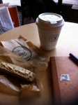 Coffee and a walnut orange glazed biscotti while writing in my diary...heaven!