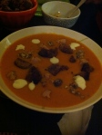 Homemade pumpkin soup with foie gras, chesnuts and sour cream....a delight for a dinner with the girls!