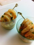 Humus with lime marinated shrimp