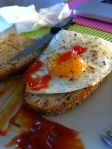 Confot food: egg on country toast with KETCHUP! Lots of ketchuuuuup